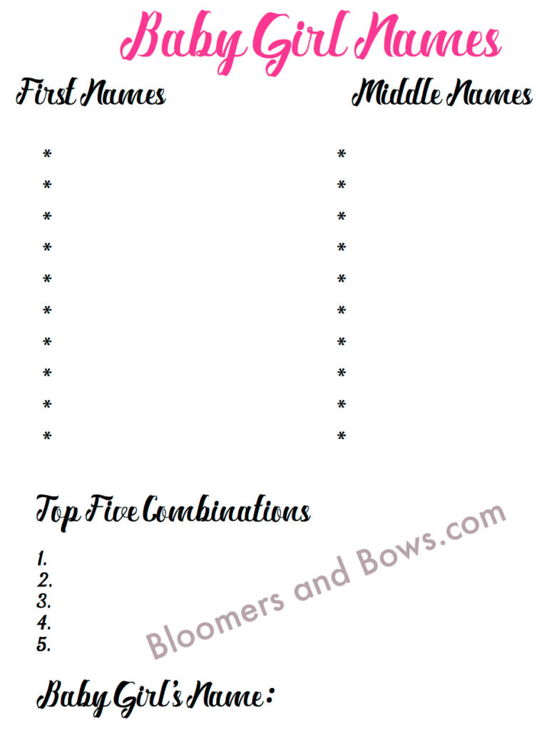 Narrowing down Baby Girl Names free printable| Bloomers and Bows