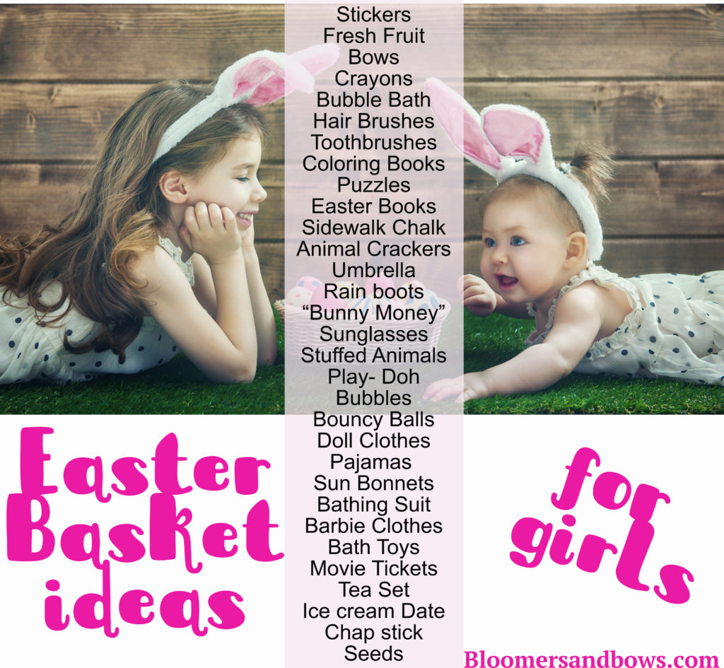 "Non-Candy Easter and Egg Filler Ideas for little girls | Bloomers and Bows.com| 1. Stickers 2. Fresh Fruit 3. Bows 4. Crayons 5. Bubble Bath 6. Hair Brushes 7. Toothbrushes 8. Coloring Books 9. Puzzles 10. Easter Books 11. Sidewalk Chalk 12. Animal Crackers 13. Umbrella 14. Rain boots 15. ""Bunny Money"" 16. Sunglasses 17. Stuffed Animals 18. Play- Doh 19. Bubbles 20. Bouncy Balls 21. Doll Clothes 22. Pajamas 23. Sun Bonnets 24. Bathing Suit 25. Barbie Clothes 26. Bath Toys 27. Movie Tickets 28. Tea Set 29. Coupon for Ice cream 30. Chap stick 31. Seeds"
