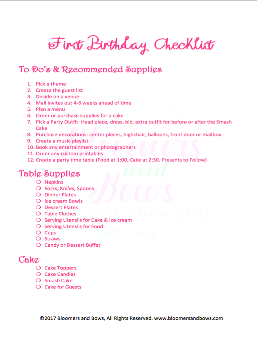 First Birthday Party Checklist. Everything you need to plan a party for your little Girl. Bloomers and Bows