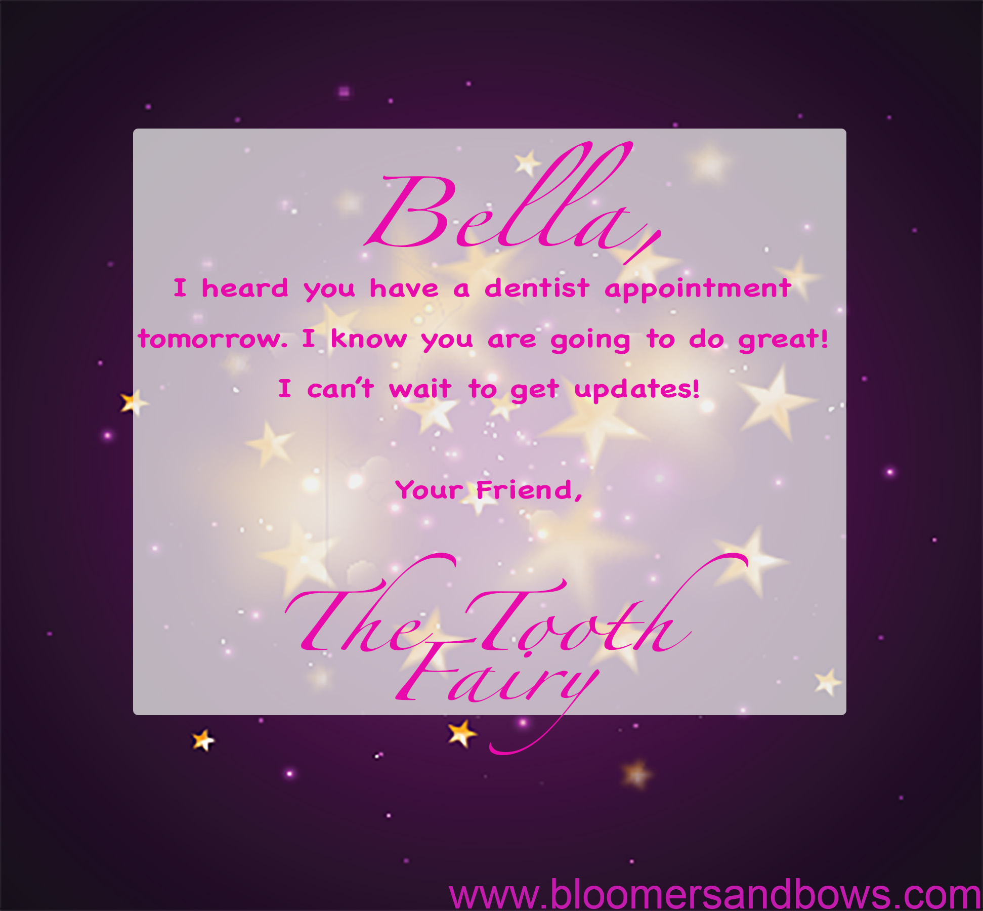 A letter from the Tooth Fairy | Bloomers and Bows | Most clever ideas from the Tooth Fairy