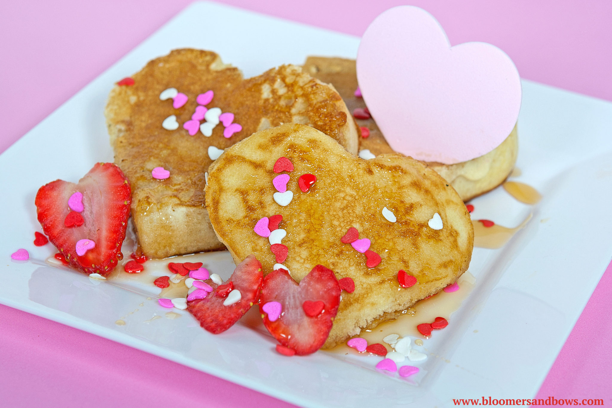 Heart Pancakes. Best Ideas for Valentine's Day Inspired Food for Kids. | Bloomers and Bows