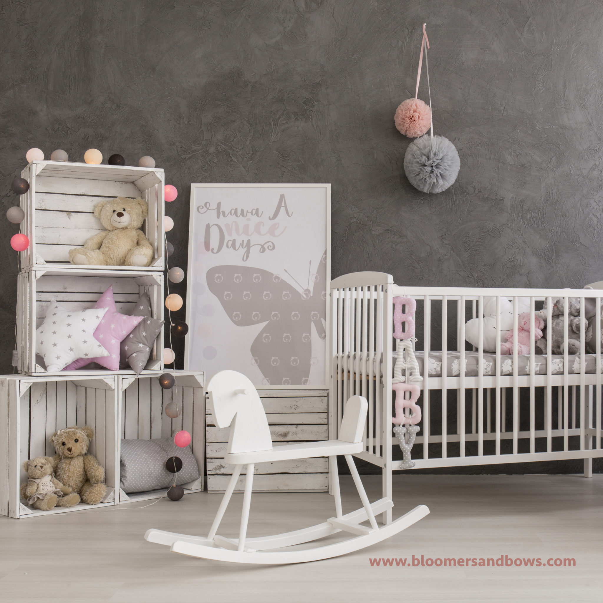 Beautiful & Classic: Gray, White & Pink Nursery Inspiration