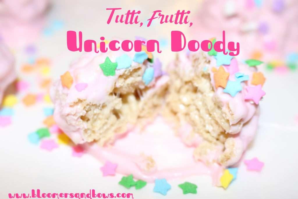 Tutti, Frutti, Unicorn Doody, (Unicorn Poop) Super easy Rice Krispie Treat snack for a Unicorn Party | www.bloomersandbows.com
