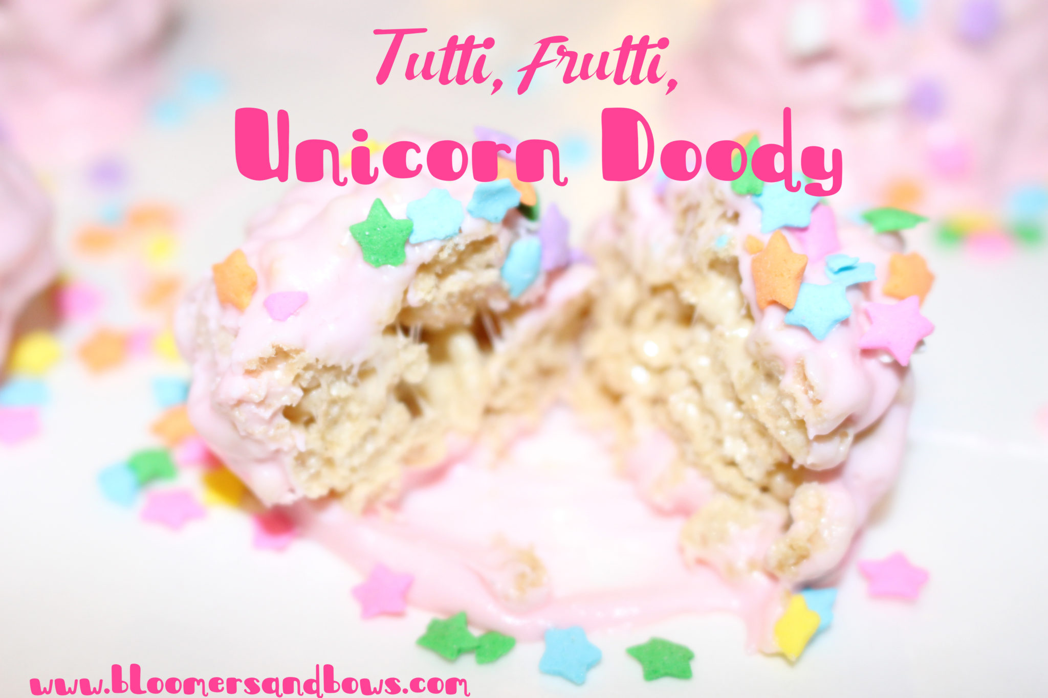 Tutti, Frutti, Unicorn Doody, (Unicorn Poop) Super easy Rice Krispie Treat snack for a Unicorn Party | www.bloomersandbows.com