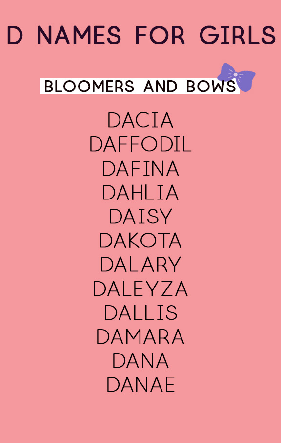D Names for Girls | Bloomers and Bows | Baby Name Lists