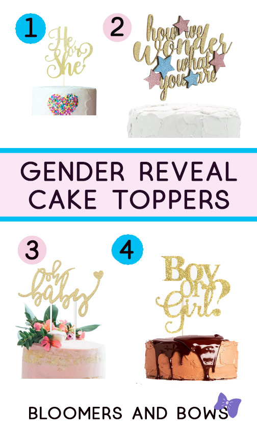 Gender Reveal Ideas Cake toppers. Ideas for a family gender reveal party